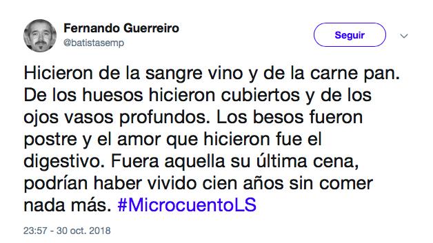 El portugués Fernando Guerreiro gana la tercera edición de #MicrocuentoLS